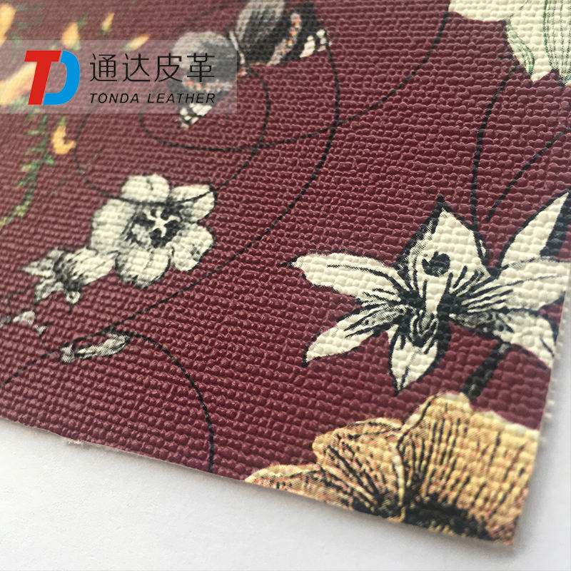 Tonda Leather flower and grass printing cross patten 1.0mm thickness PVC faux leather for decoration T1103