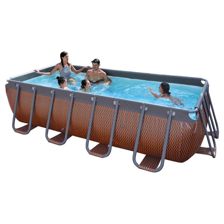 13ft Above Ground Pool Steel Frame Wooden Swimming Pool Rectangular with Filter Pump and Ladder