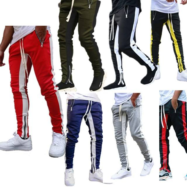 Striped Casual Fitness Trousers Sport Track Cargo Men Sweatpants Joggers Pants