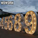 WOWORK wholesaler water resistant RGBW control led illuminated love heart shape light up letters for wedding stage decoration