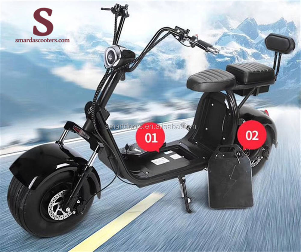 electric fat tire retro 60v 12ah electric scooter battery 2 person electric scooter 3 wheel cylinder tire scooter lights