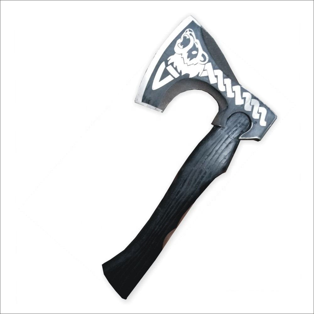 Hand Forged Viking Axe with Etching on the Head and Handle Black Colored by hand Decorative Fantasy Viking Axe