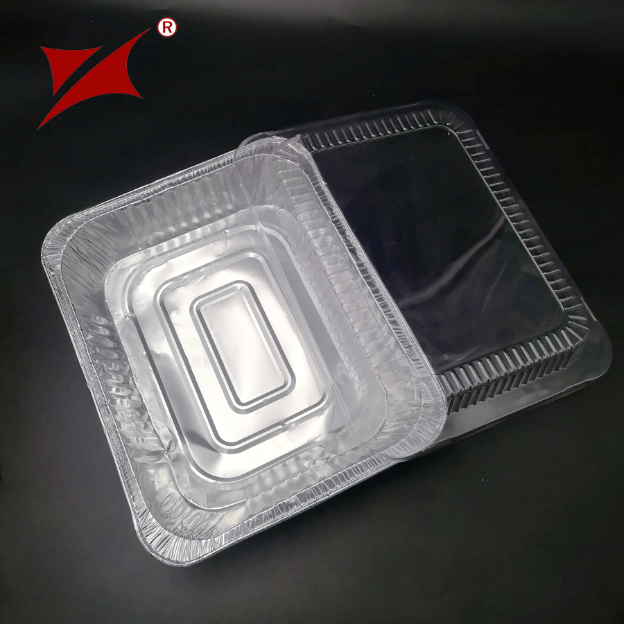 rectangle take away disposable aluminum foil container tray sizes manufacturer with plastic lids