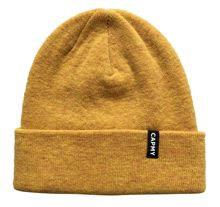 Winter warm bright yellow knit beanie hat with black label knitting hat