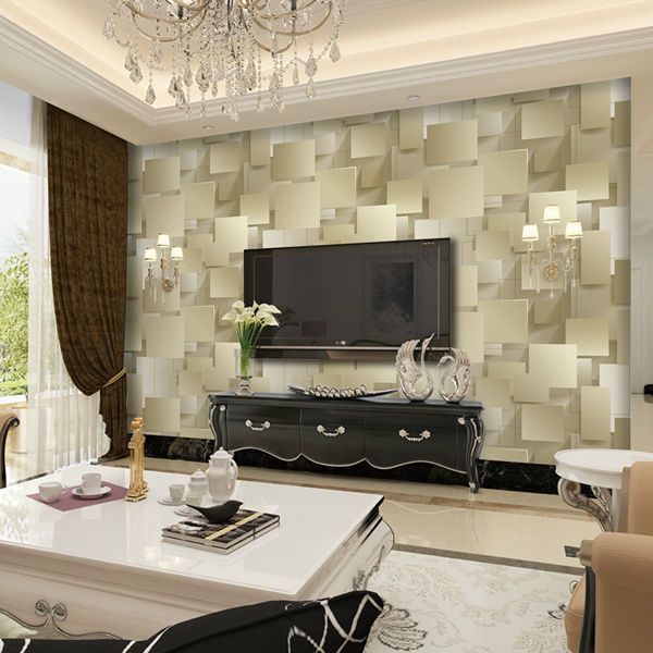 Interior modern three-dimensional soundproof wallpaper vinyl yellow wall paper