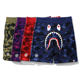High quality Bape shark Printing Camouflage mens sports shorts