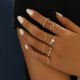 SinDlan Wholesale 9Pcs/set Gold Color Crystal Hollow Heart Finger Rings for Women