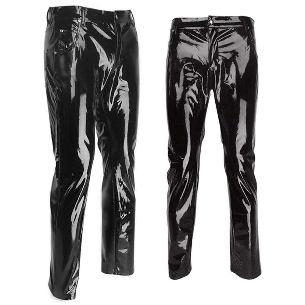 Wonder Beauty Punk Gothic Man Pants Sexy Wetlook Latex Vinyl Zipper Trousers Men Black Faux Leather Pantalones Hombre