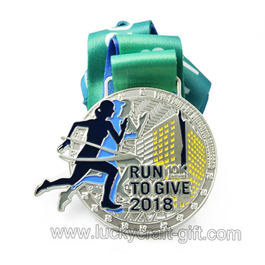 Design your own sport marathon running finisher Zinc alloy medal with lanyard