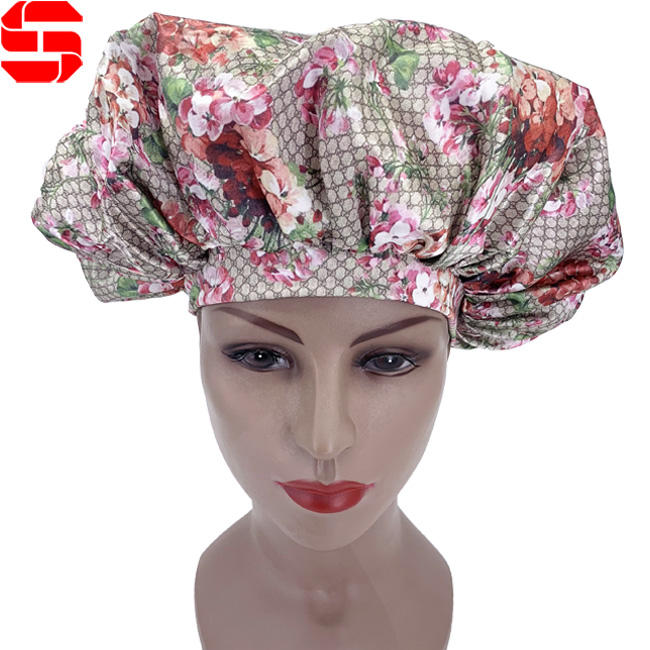 Custom Popular Luxury Sleeping Caps Designer Sleep Hat Double Layer Satin Hair Bonnets for Women