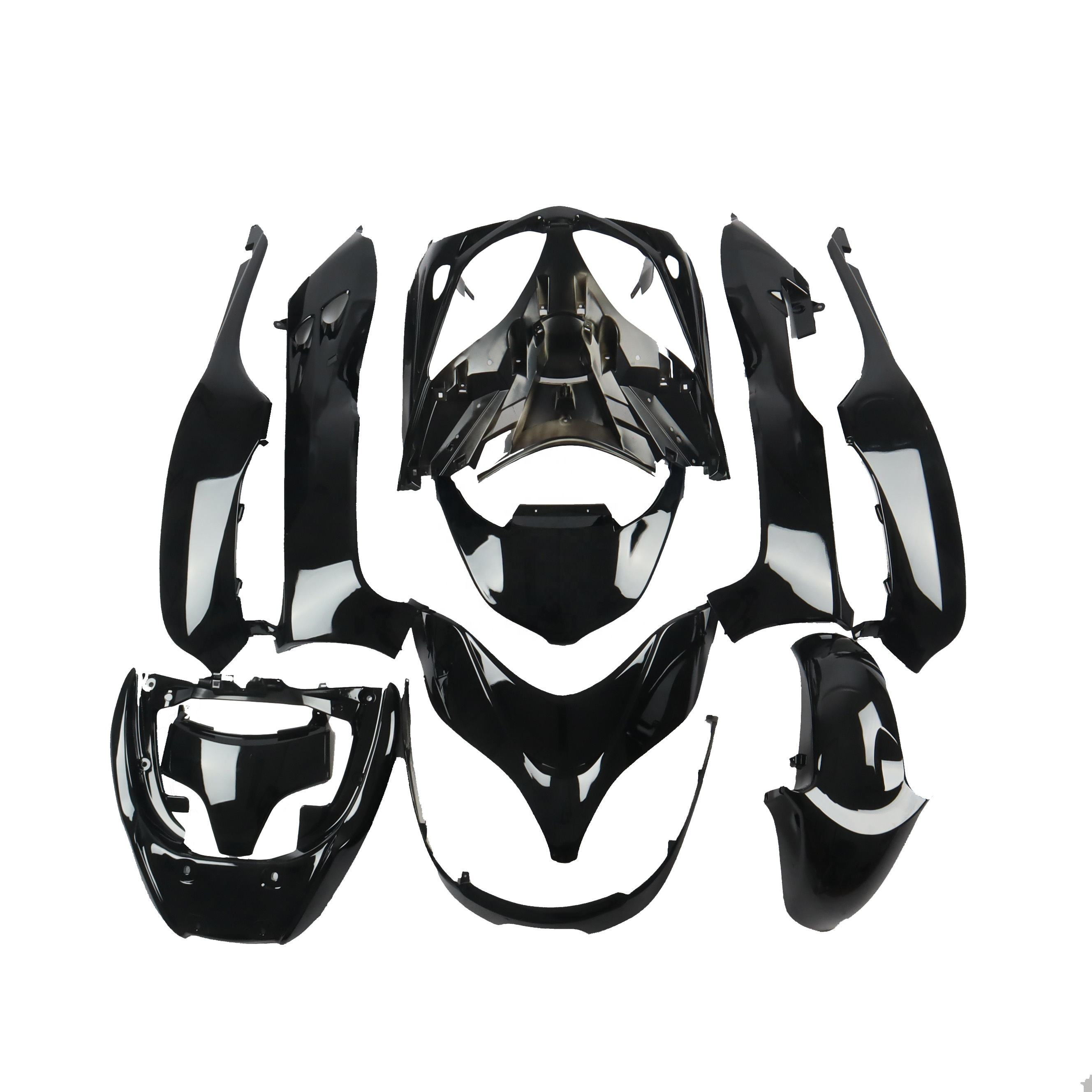 CFP250-8 -024+013 11 Piece Set Fit HONDA For FORZA MF08 Scooter Black Outer Cowl