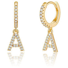 2020 Fashion Gold Plated Initial Alphabet Letter Crystal Huggige Earrings Jewelry