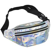 Luxury Girls Women Holographic Waist Bag Waterproof Tpu Waist Bag Silver Glitter Belt Fanny Pack For Women
