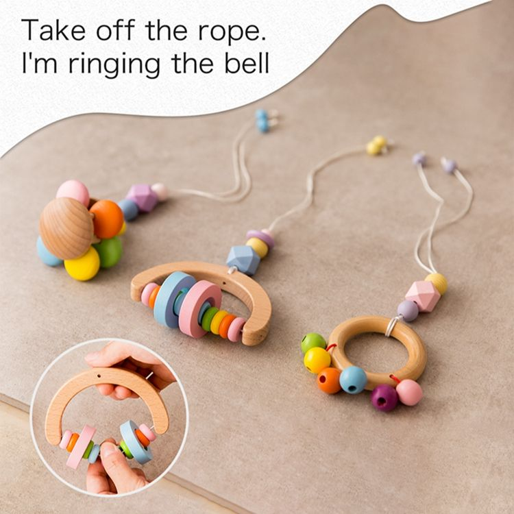 Teething Baby Teether Handmade And Beautiful Baby Toy Wooden Teether Rattles Remove Bed Bell