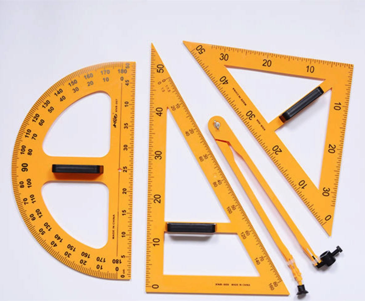 Stationery Supply Geometric 1m Long Ruler, Protractor, 2 Set Squares,Compass Teaching Plastic Ruler Set