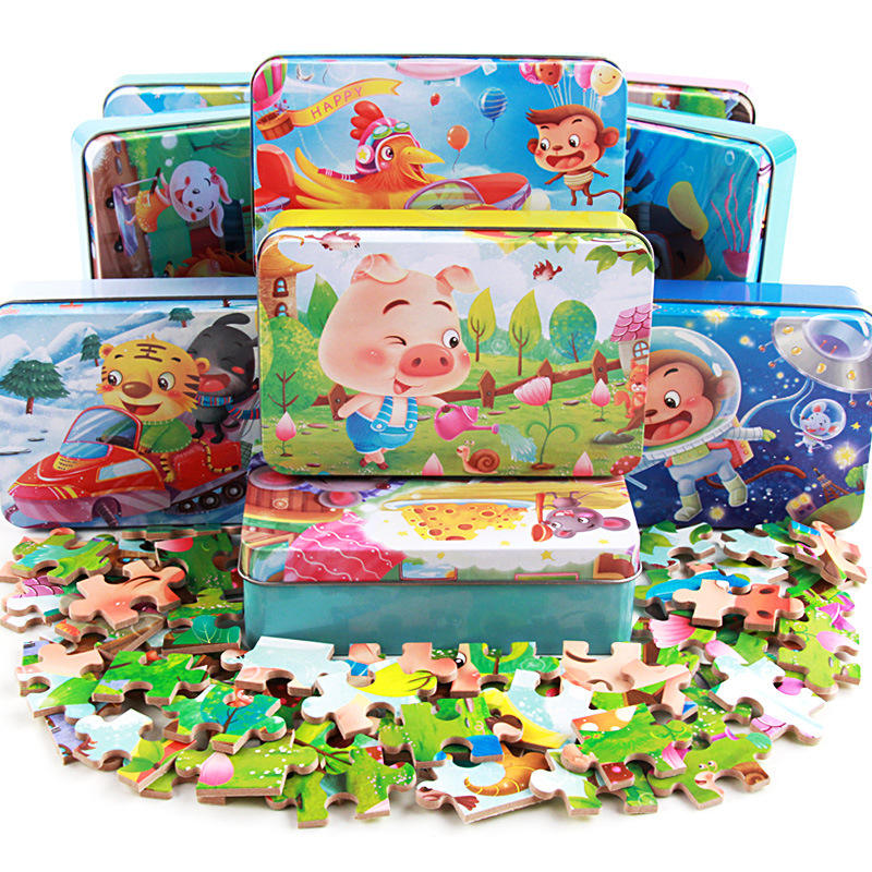 Factory direct sale 24 models 60 piece iron box wooden wooden puzzle cartoon zodiac children early education educational toy