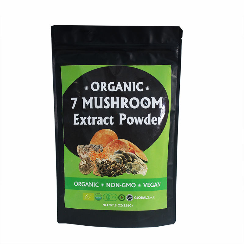 Private Label Organic 30% Concentration Herbal Lions Mane Cordyceps Ganoderma Chaga Reishi Mushroom Extract Blend Powder