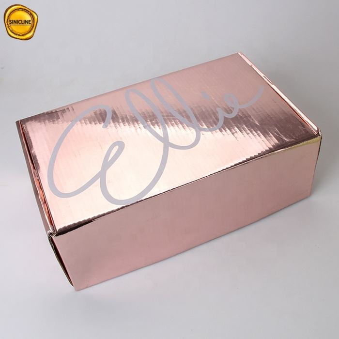 Sinicline High Luxury corrugated paper rose gold color wedding dress shipping box dress package box for garments packaging