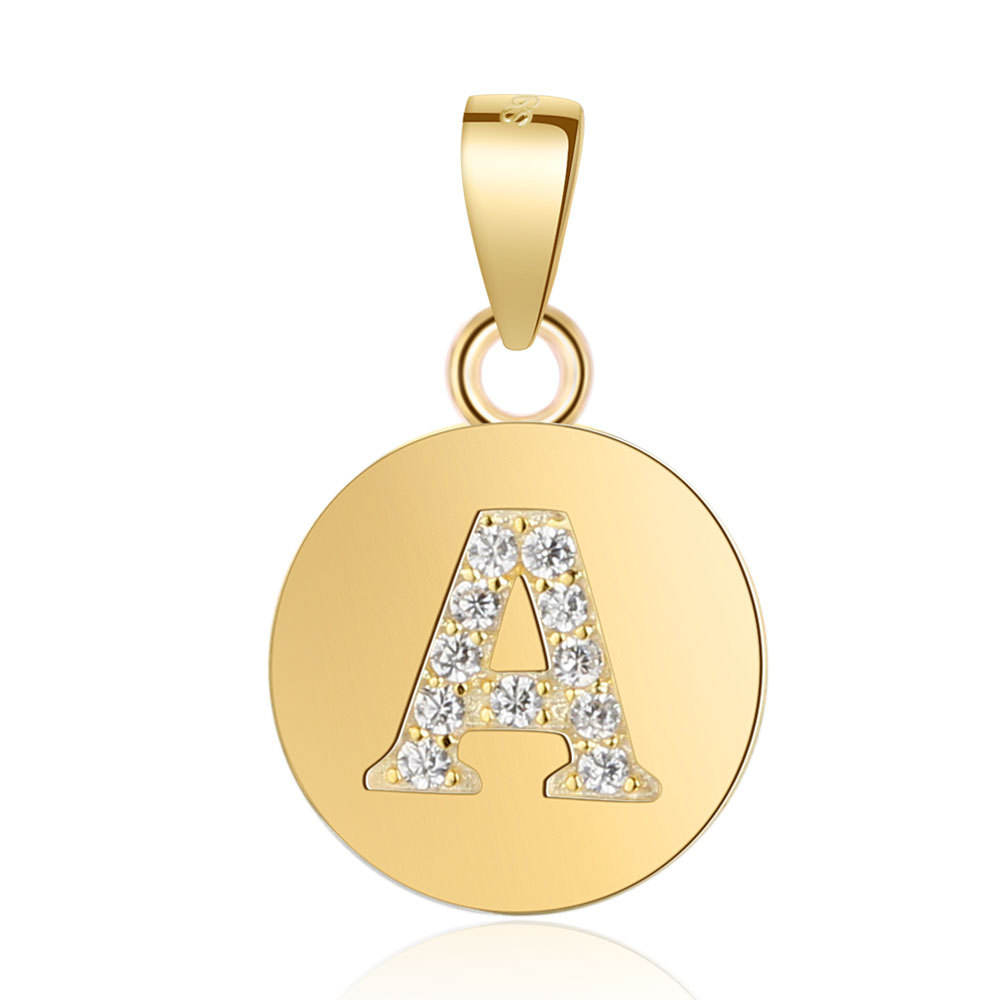 Alphabet Q Pendant with CZ in 18K Yellow Gold Vermeil Over Sterling Silver 60th Wedding Anniv Gi