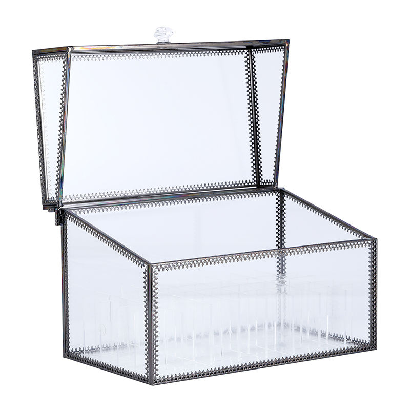 2020 Hot Sale Clear Toughened Glass Flower Rose Lipstick Jewelry Container Box Makeup Organizer