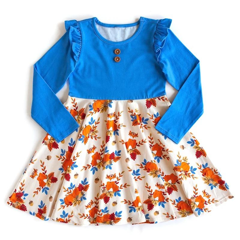 OEM/ODM Wholesale Children Fall Clothing Low MOQ Kids make your own Pumpkin Print Halloween dress