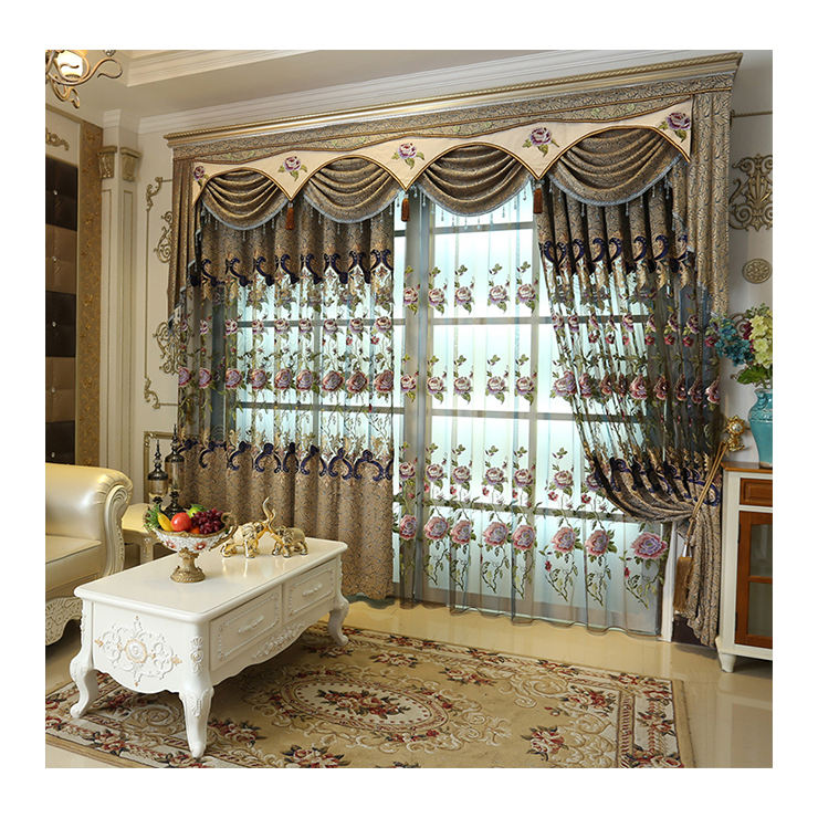 Luxurious design with beautiful flowery and highly quality embroidery sheer curtain fabric