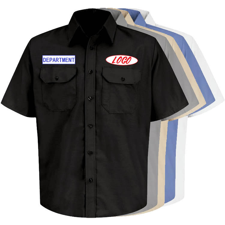 Hot Sale Customized Logo Polyester / Cotton Short Sleeve Mens Workwear Mechanic Uniform Work Shirts