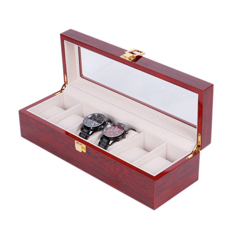 RuiKaiLi Luxury Custom Logo 6スロットWatch Display Case Red Piano Lacquer Packaging Wooden Watch Case Box 6