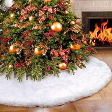 Wholesale Faux Fur Christmas Tree Skirt 48 inches Snow White Tree Skirt For Christmas Decorations