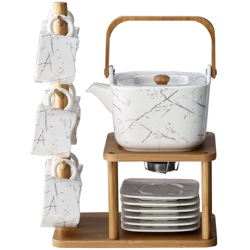 Japanese Stype Ceramic Kung Fu Tea Coffee Set with Stand Rack Teapot Jug Set European Afternoon Tea Cup and Saucer Set