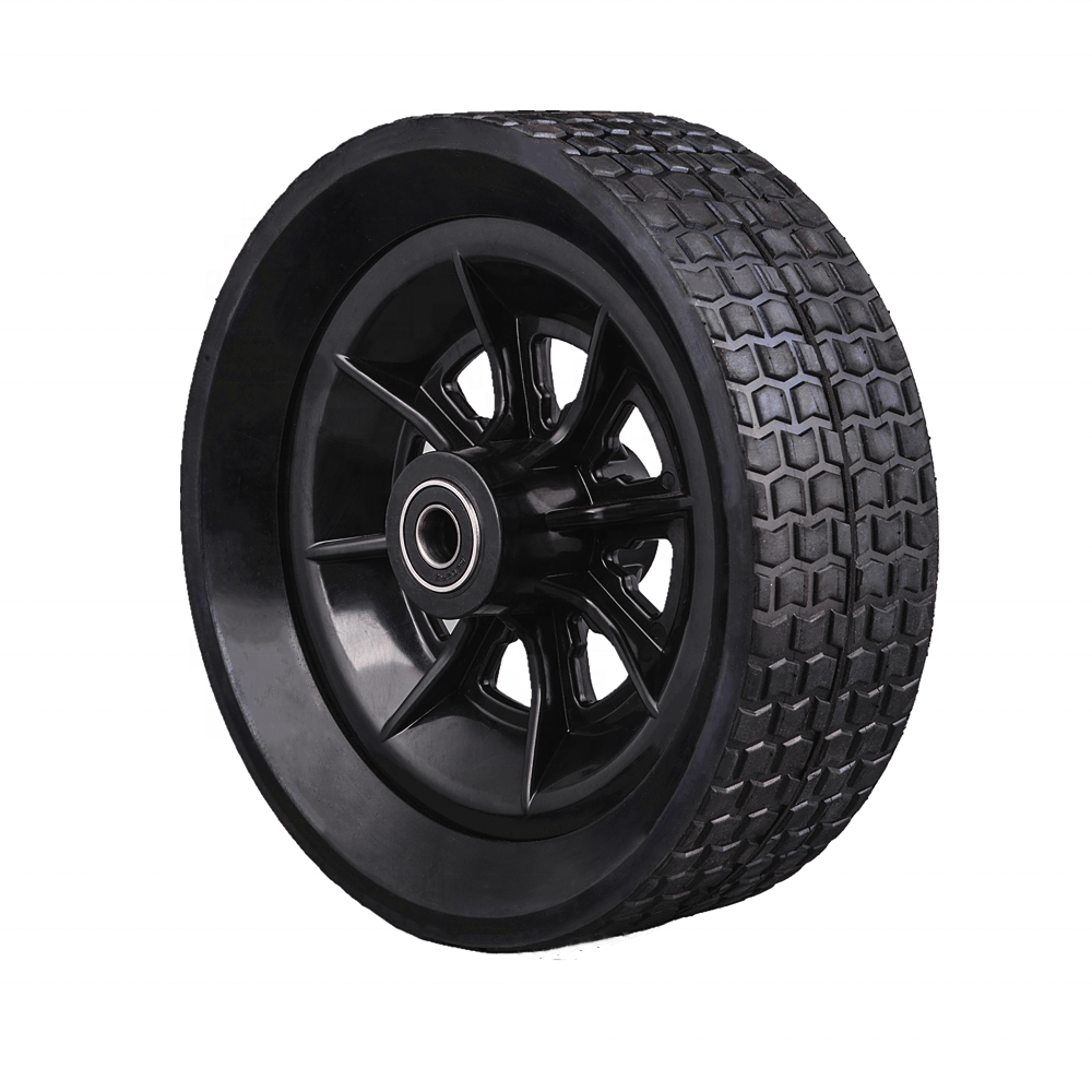 Solid rubber 10 inch wheel with bearing for pressure washer, log splitter, bbq smoker