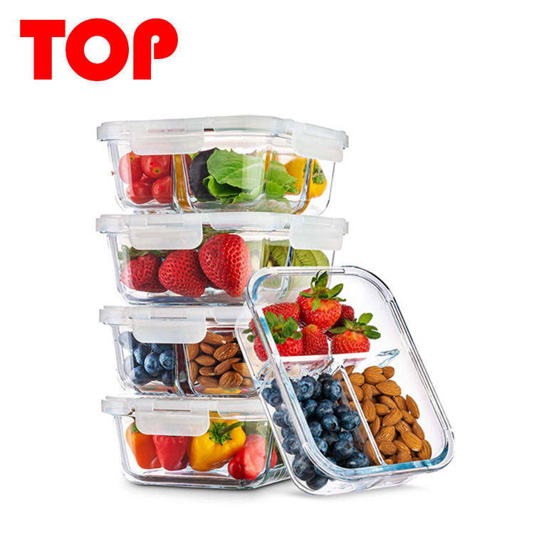Pyrex Glass Food Storage Containers Container House Glass Lunch Box with 3 Compartment 5Pack