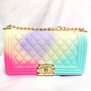 2020 Fashion luxury rainbow purse chain lady colorful bags candy jelly hand bags handbags clear women purses handbag jelly