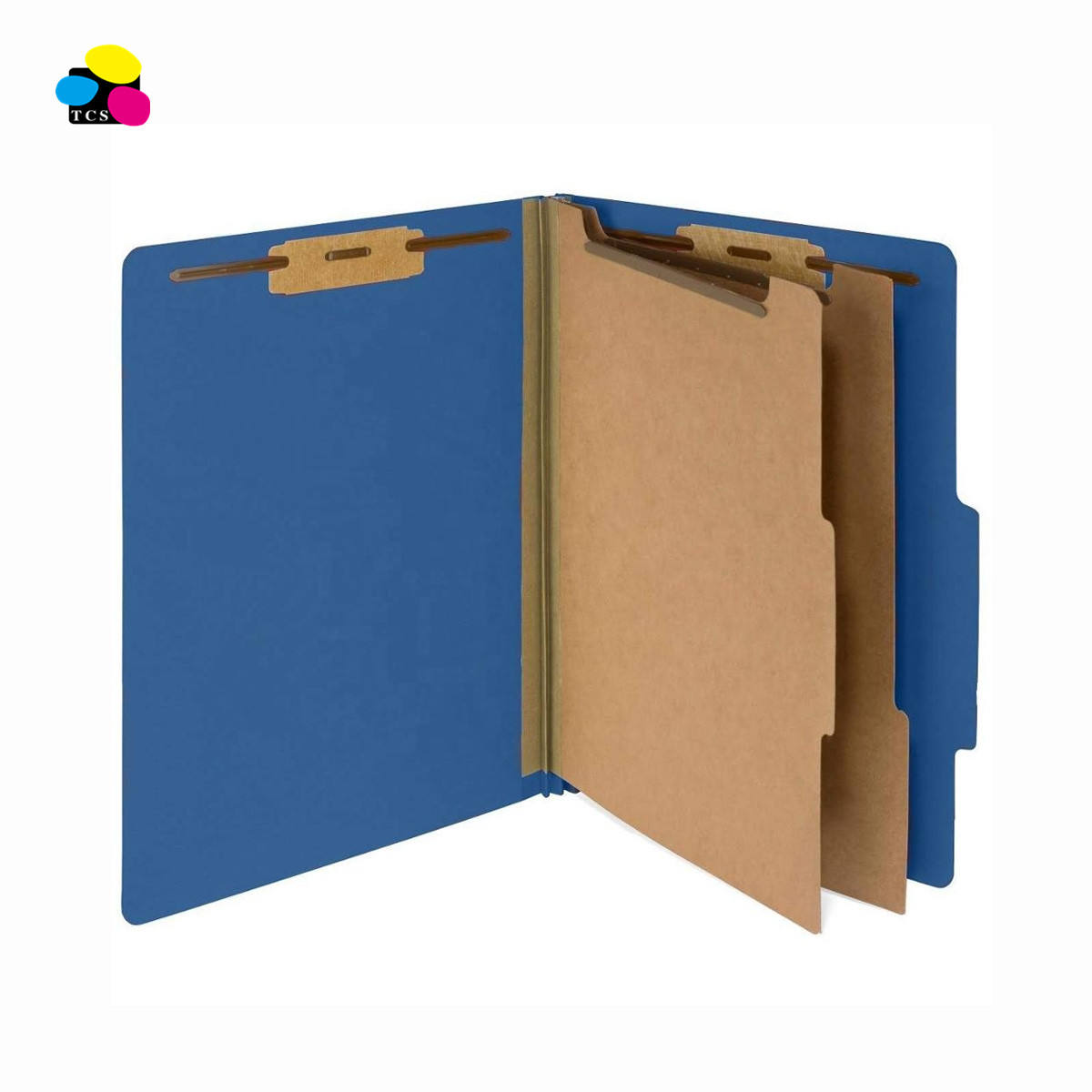 New Letter Size Dark Blue Pressboard Classification Paper File Folders W/ 2 Partitions