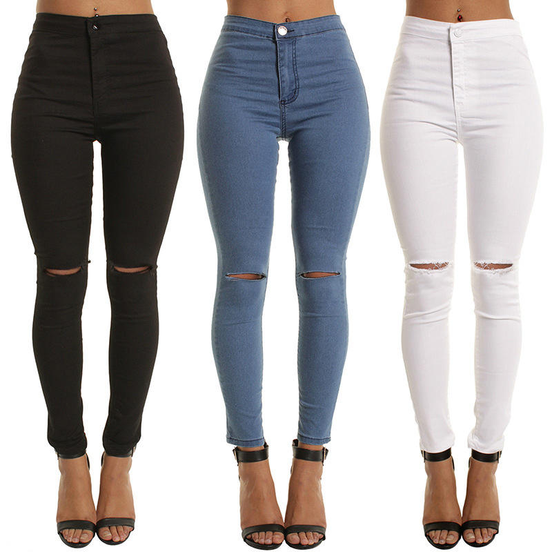 Factory Wholesale Price Women White Blue Jeans High Waist Ripped Stretch Skinny Jeans