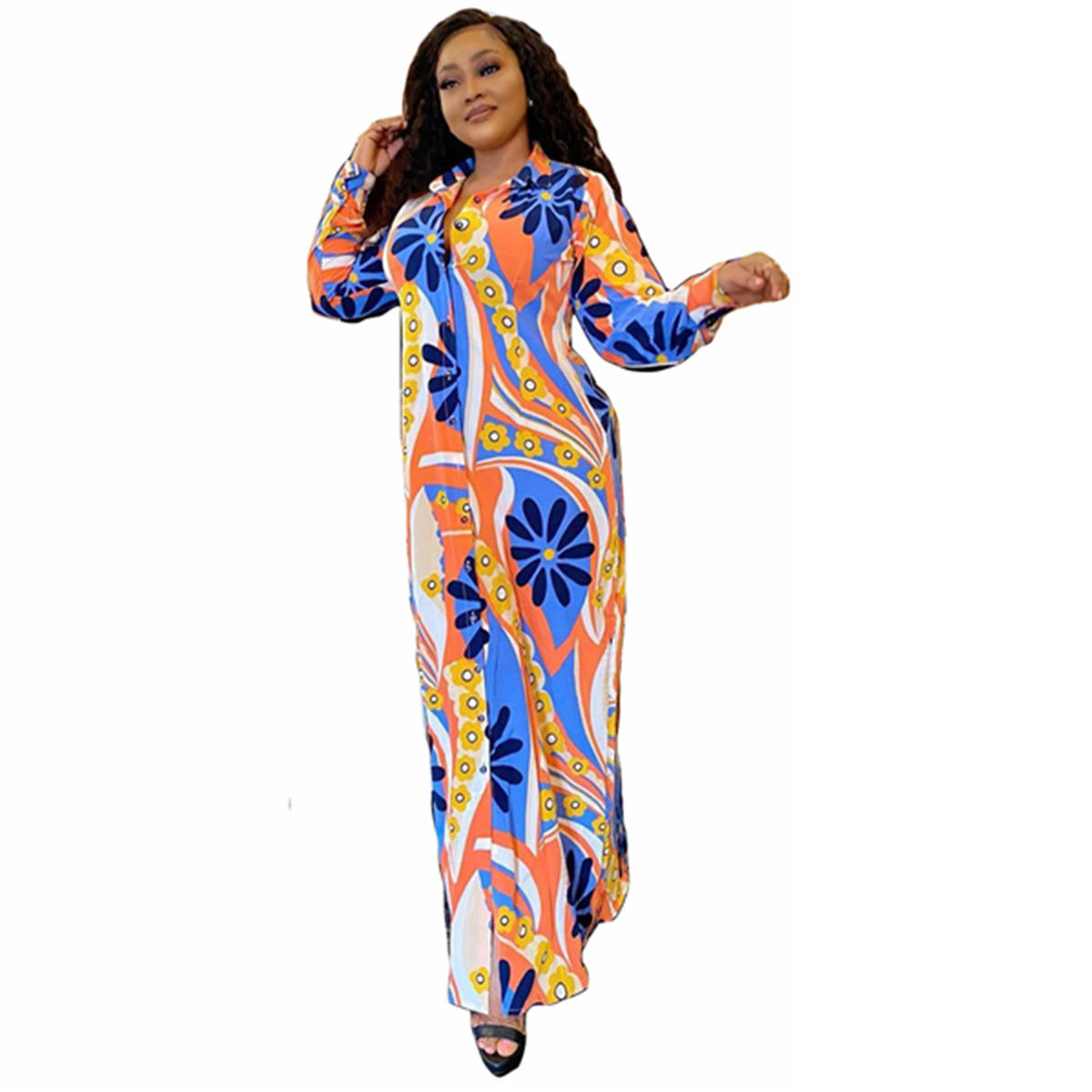 Cross-Border Europe and the United States large size women's digital printing lapel long sleeve dress dress Africa with belt