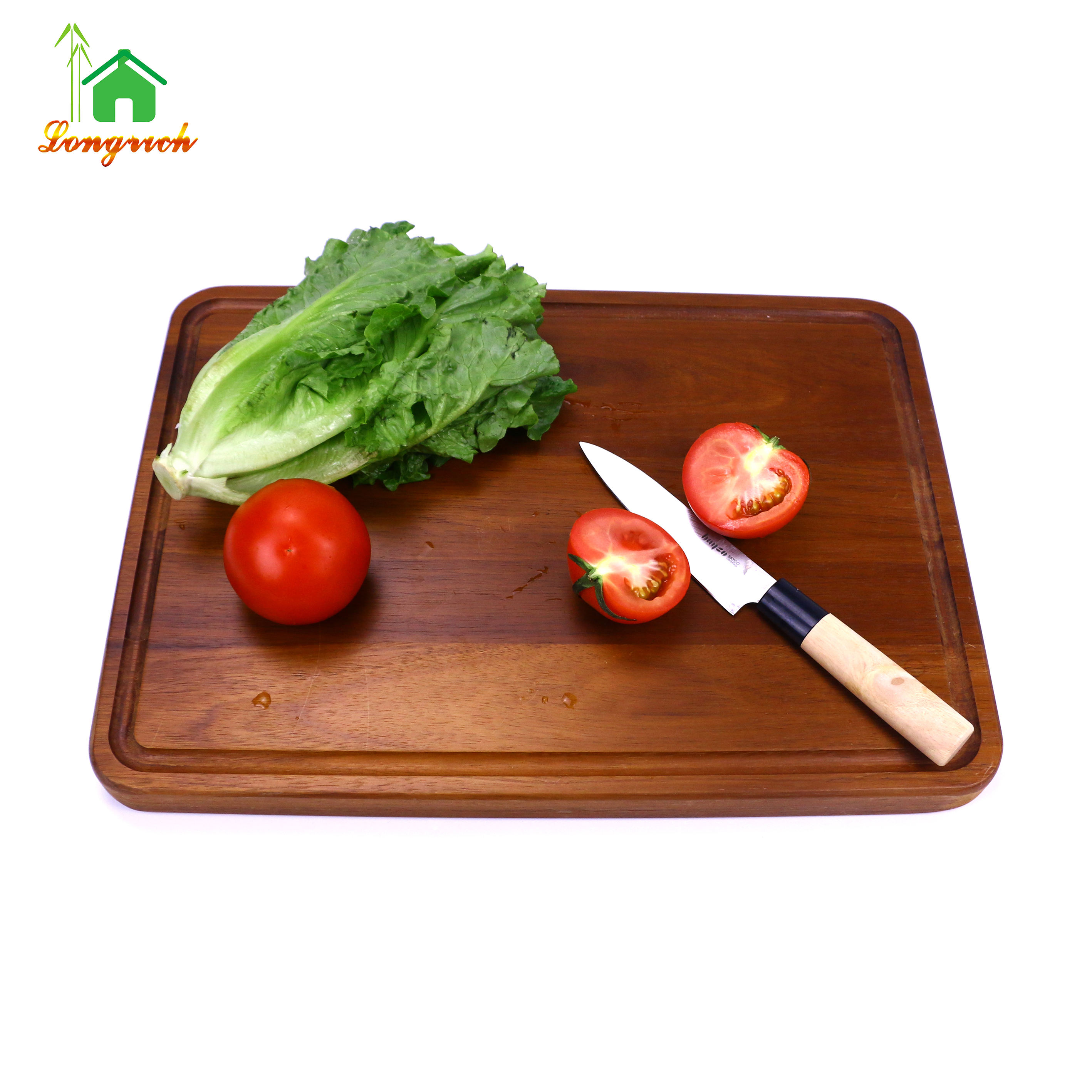 Large Walnut Wood Butcher Chopping Block Customized Cutting Board with Juice Drip Grooves and Handles