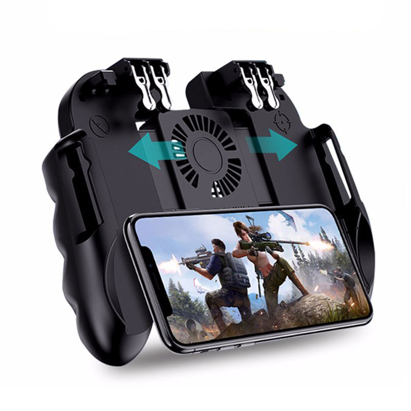 H9 Six Finger Game Controller Gamepad Trigger Shooting Free Fire Cooling Fan Gamepad Joystick For IOS Android PUBG Mobile Phone