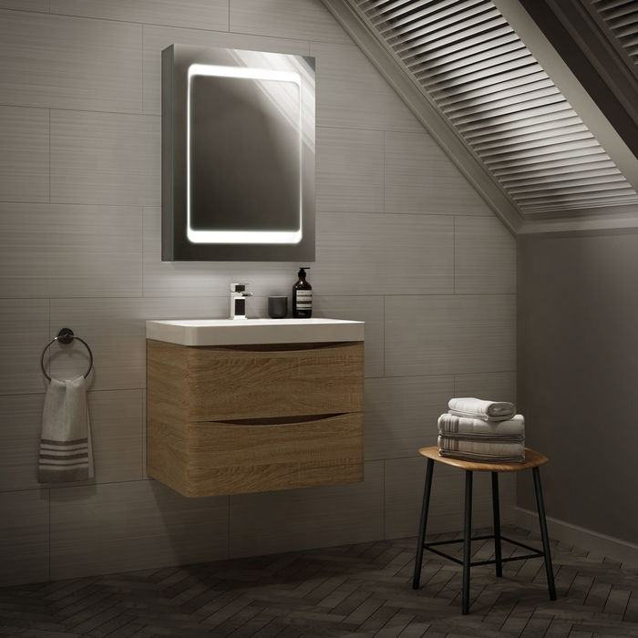 Elegent Aluminum LED Bathroom Mirror Cabinet with Anti-fog and Dimmer LED