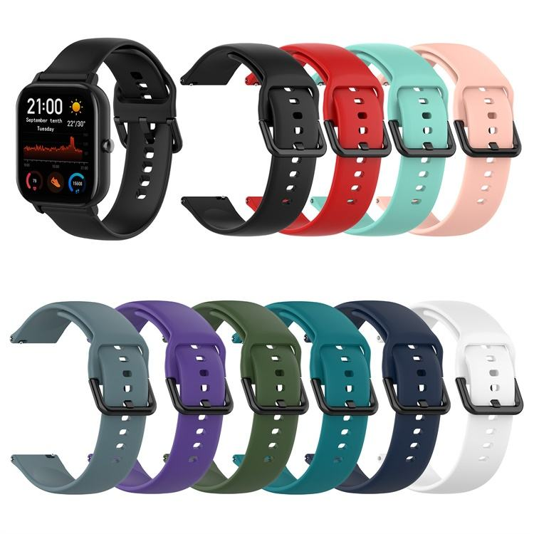 20mm oem custom silicone rubber watch band strap straps For Amazfit BIP / GTR 42mm / GTS (A1913)