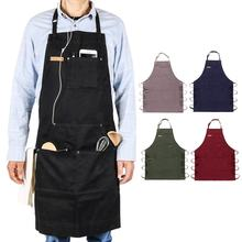 CHANGRONG Professional Grade heavy cotton adjustable large tool pockets BBQ cooking chef kitchen apron for men