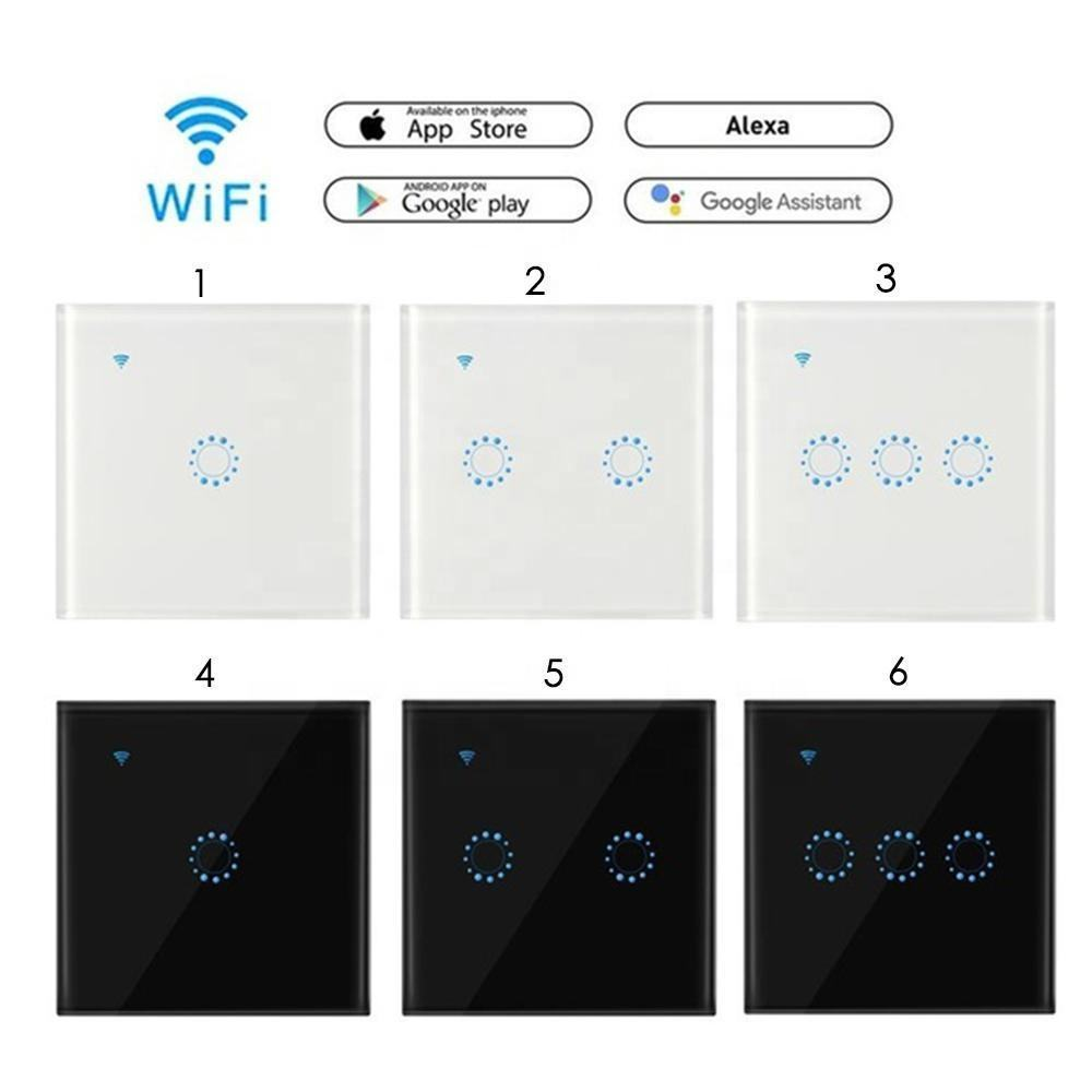 Fast delivery 1 Gang EU WiFi Switch Amazon Alexa and Google Home Touch Wall Switch LED Light Glass Panel Remote Smart Switch OEM