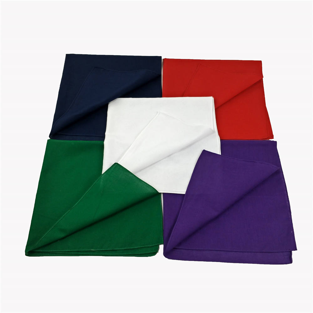 Wholesale Blank Solid Headwera Bandanas Purple 100% Cotton Square Plain Pure White Black Color Bandana for Sale