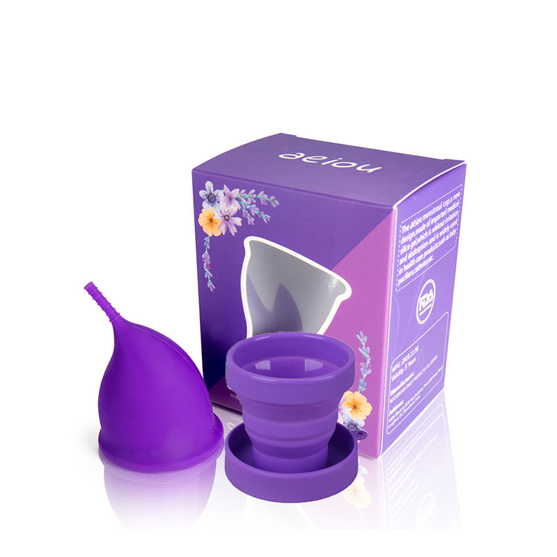 2 in 1 100% Medical Silicone Menstrual Cups,Reusable Fold Copa Menstruation Cup
