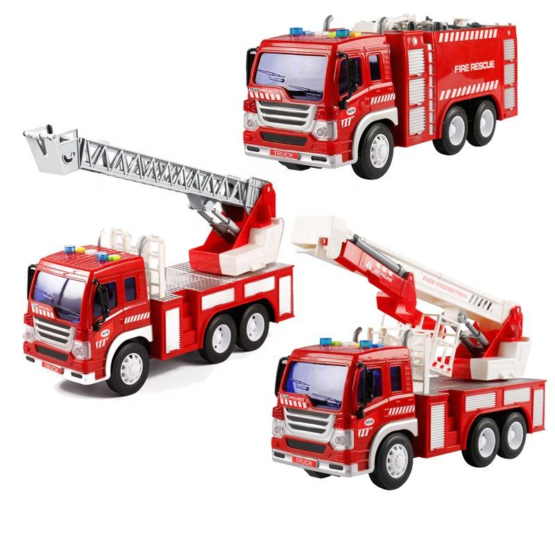 Wholesale kids simulation alloy metal fire engine rescue pull back truck diecast vehicle toys
