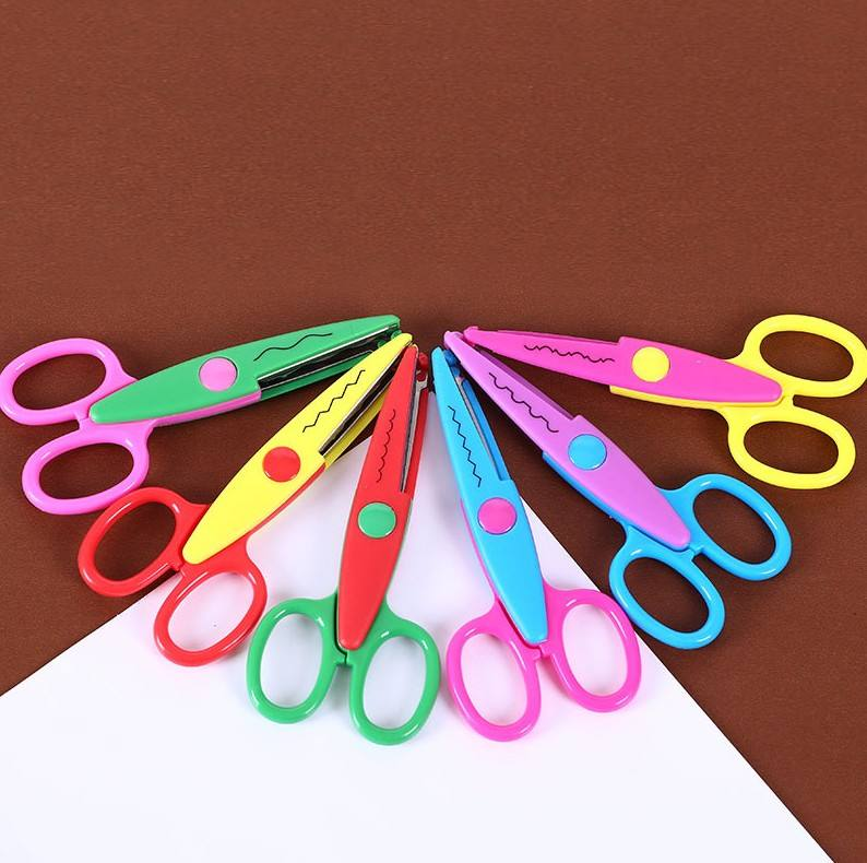 6 Styles Wholesale DIY Safety Kids Colorful Scissors Wave Lace Edge Craft Cutting Zigzag Scissors