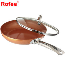 Non-Stick Copper Ceramic Coating Fry Pan with Tempered Glass Lid