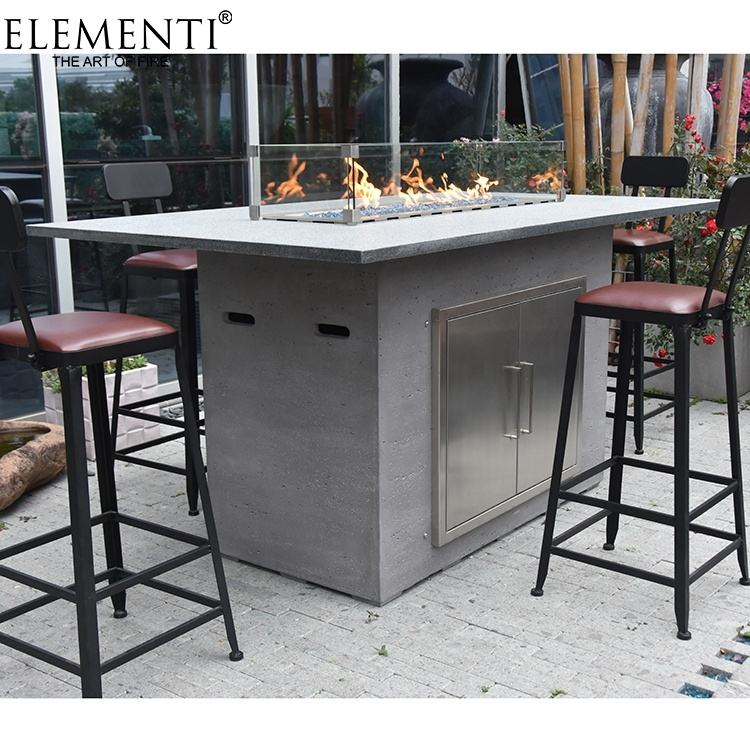 Elementi outdoor auto safety shut-off natural gas glass tabletop fire pit
