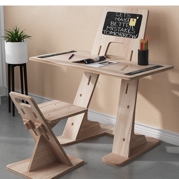 inlay whiteboard Designs plywood Study Table Chair Set Children Furniture Sets Study Table And Chair
