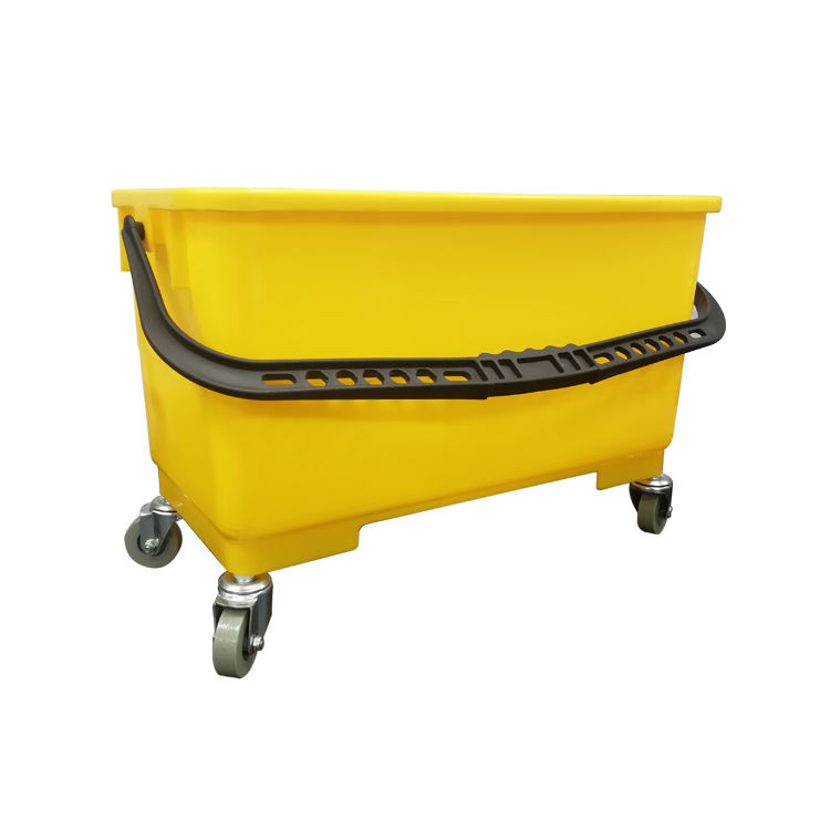 Yellow color cheap square plastic clean bucket with wheels